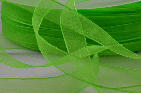 15mm Green Sheer Organza Ribbon x 250 Metre Rolls!!