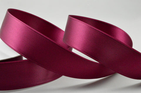 25mm Wine Double Sided Satin Ribbon x 20 Metre Rolls!
