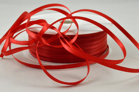 3mm Red Double Sided Satin Ribbon x 100 Metre Rolls!