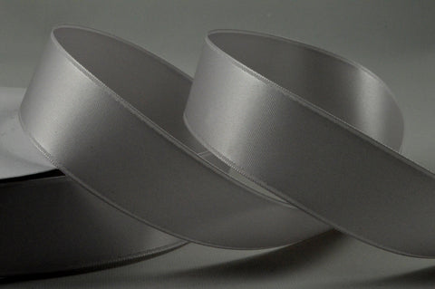 25mm Light Grey Double Sided Satin Ribbon x 20 Metre Rolls!