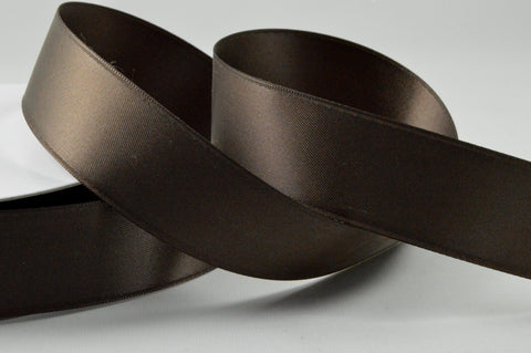 25mm Brown Double Sided Satin Ribbon x 20 Metre Rolls!