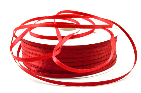 3mm Dark Red Double Sided Satin Ribbon x 100 Metre Rolls!