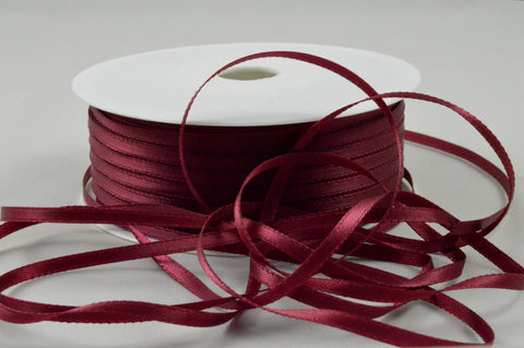 3mm Burgundy Double Sided Satin Ribbon x 100 Metre Rolls!
