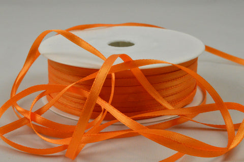 3mm Orange Double Sided Satin Ribbon x 100 Metre Rolls!