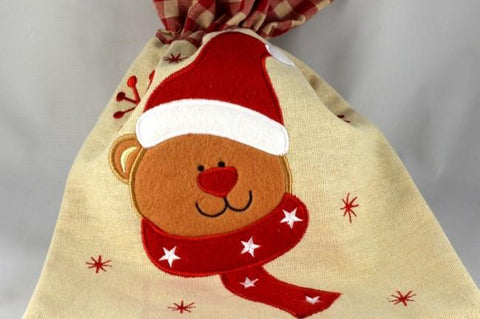 Natural Christmas Bear Gift Bag
