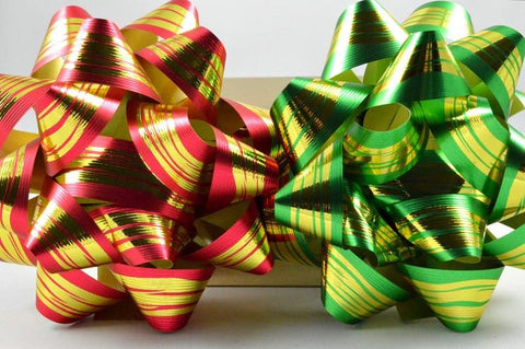 2 x Golden Striped Gift Box Self Adhesive Bows