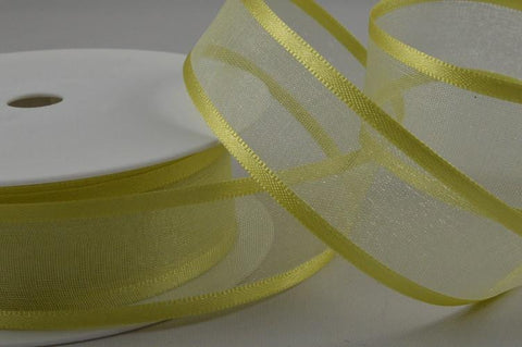 25mm Light Yellow Satin Sheer Ribbon x 25 Metre Rolls!