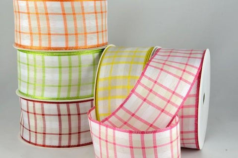 40mm Wired Gingham with Coloured Edge Ribbon x 20 Metres!!