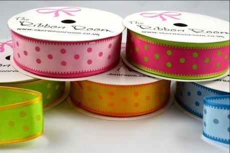 25mm Spotted Ribbon (Wired) x 4 Metre Rolls!!