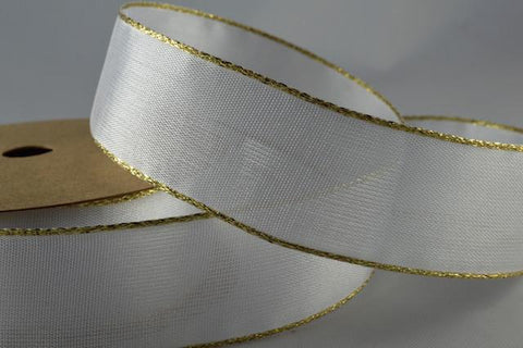 25mm White Wired Ribbon with Lurex Edge x 3 Metre Rolls!!