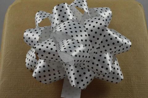 2 x White Polka Spotted Gift Box Self Adhesive Bows