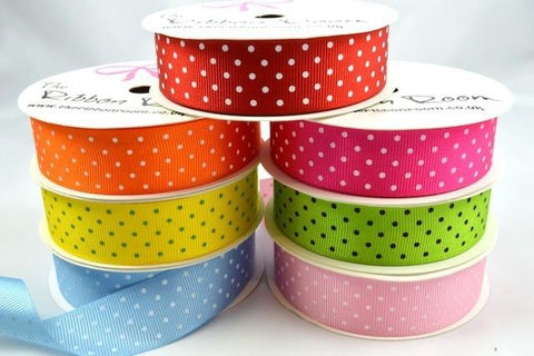22mm Spotted Grosgrain Ribbon x 4 Metre Rolls!!