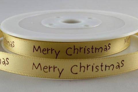 10mm Merry Christmas Printed Ribbon x 20 Metre Rolls!