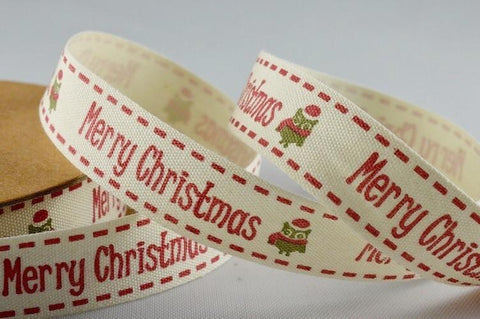 15mm Red Merry Christmas Cotton Printed Ribbon x 10 Metres!