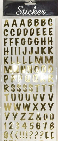 Gold Metallic Alphabet Stickers & Numbers