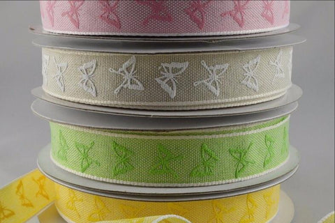 15mm Colourful Butterfly Printed Ribbon x 20 Metre Rolls!!