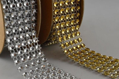 25mm Diamante Beaded Mesh x 1 Metre Strip!
