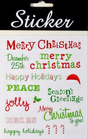 Green & Red Merry Christmas Stickers