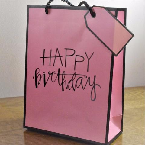 Medium & Large Pink Happy Birthday Gift Bags & Tag!!