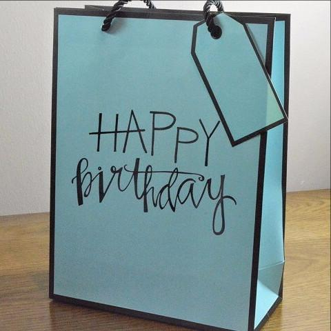 Medium & Large Blue Happy Birthday Gift Bags & Tag!!