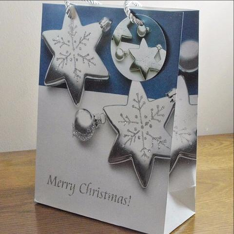 Small Sparkling Merry Christmas Glitter Baubles Gift Bags & Tag!!