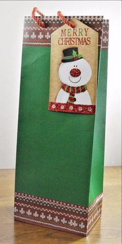 Green Merry Christmas Bottle Bag with Snowman Tag