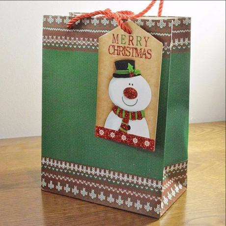 Medium Green Merry Christmas Gift Bag & Snowman Tag