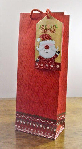 Red Merry Christmas Bottle Bag with Santa Tag