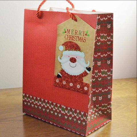 Small Red Merry Christmas Gift Bag & Santa Tag