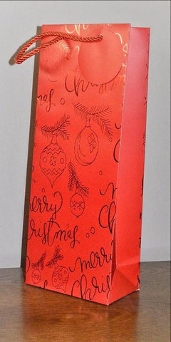 Red Merry Christmas Holly & Bauble Bottle Bag & Tag