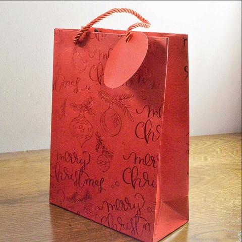 Small Red Merry Christmas Holly & Bauble Gift Bag & Tag