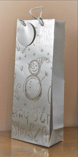 Merry Christmas Silver Snowman Bottle Bag & Tag