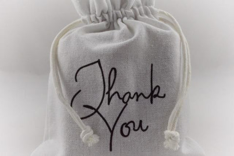 White Thank You Drawstring Gift Bags!