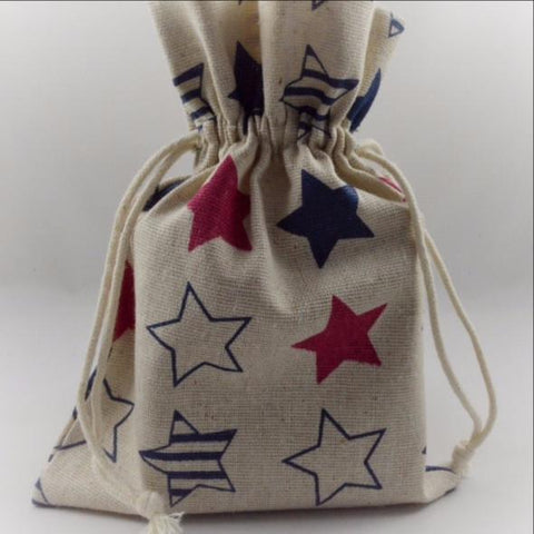 Coloured Star Printed Drawstring Gift Bags!