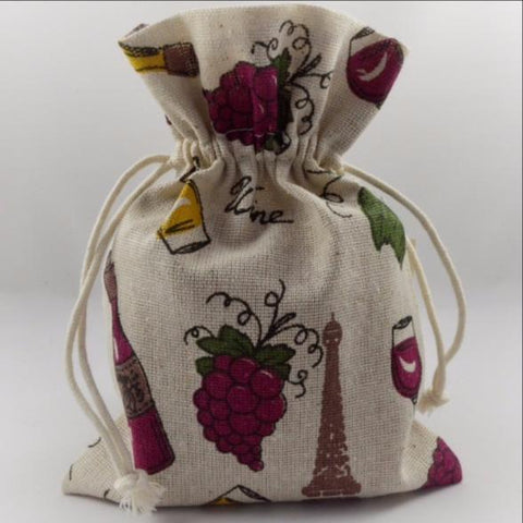 Wine, Grapes & Bottles Decorative Pouch Drawstring Gift Bags!!
