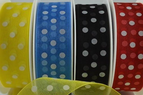 10mm & 25mm Sheer Spotted Dot Ribbon x 20 Metres!