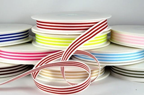 15mm Modern Candy Stripes Ribbon x 20 Metre Rolls!