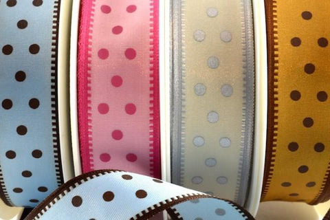 25mm Wired Spotted Ribbon x 20 Metre Rolls!!