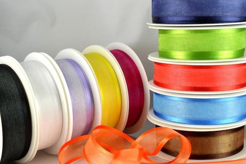 10mm, 15mm, 25mm, 40mm & 70mm Satin Sheer Ribbon