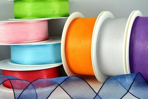 25mm & 40mm Wired Sheer Coloured Edge Ribbon x 25 Metre Rolls!