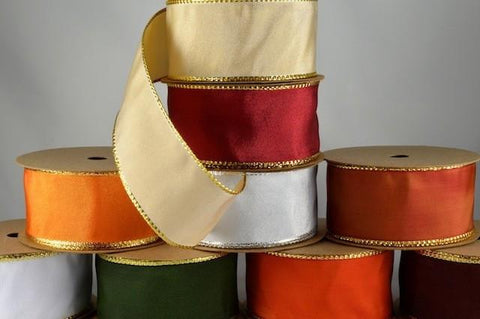 25mm, 40mm & 60mm Lurex Edge Wired Ribbon x 3 metre rolls!