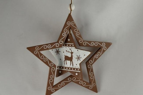 Wooden Christmas Star with Rotating Central Decoration