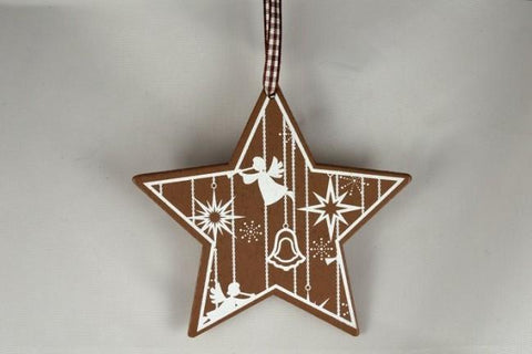 Wooden Christmas Tree Star Decoration & Gingham Ribbon Loop