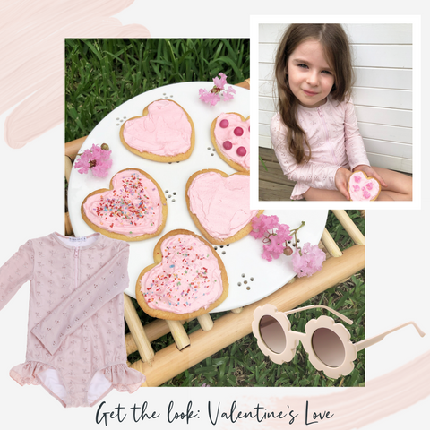 Willow Swim Valentines Day get the look with Sophie in Blossom and pink cookies