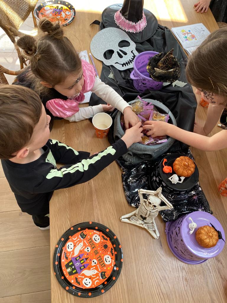 Kids Halloween costumes trick or treating at home