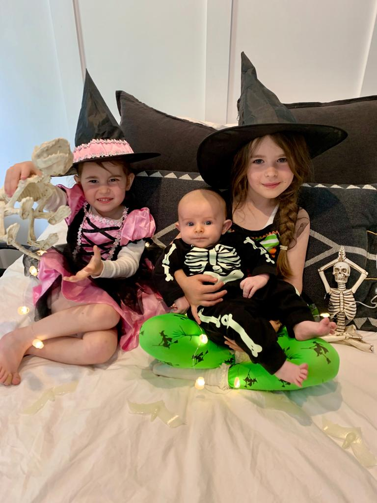 Halloween idea at home kids dressed up witch skeleton