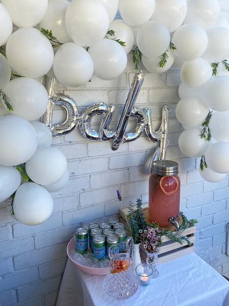 Willow Swim baby shower drinks table balloons