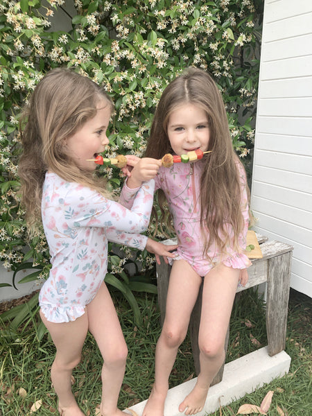 Willow Swim kids in backyard recipe plantbased chickpeas