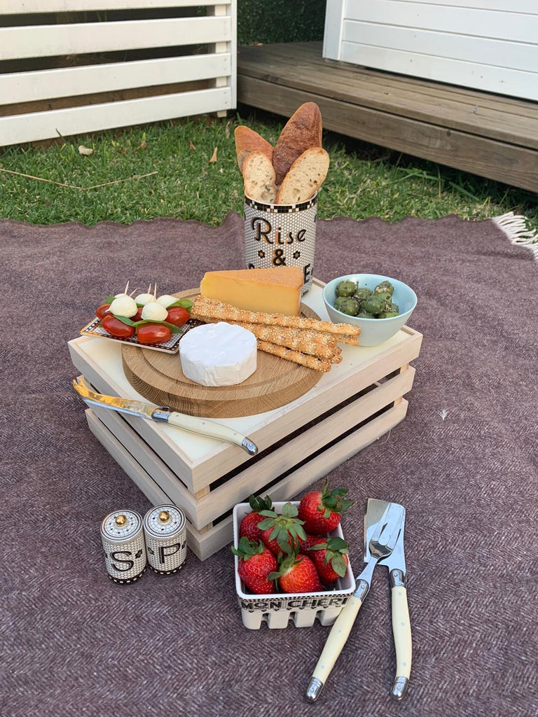 Willow Swim Fathers Day picnic in garden food spread cheese biscuits strawberries