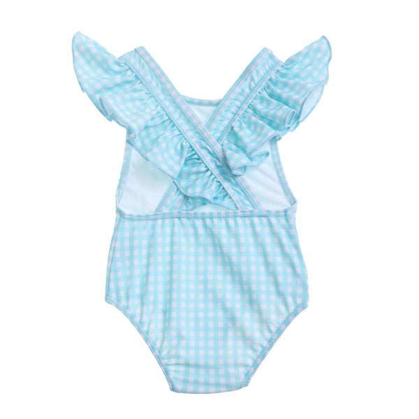 Willow Swim Gracie girls swimsuit in Minty Gingham